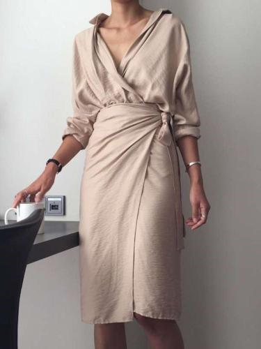 Fashion Pure Irregular Lacing Long sleeve V neck Bodycon Dresses