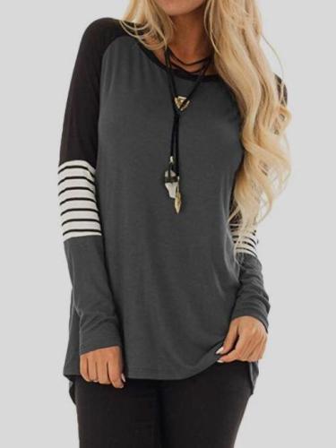 Women Round neck Gored Stripe T-Shirts