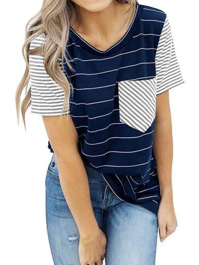 Short sleeve striped pocket stitching T - shirts