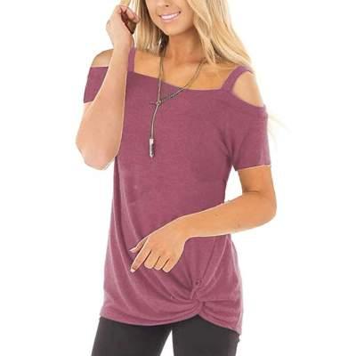 Fashion Pure Off shoulder Short sleeve T-Shirts