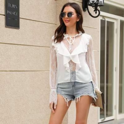 Fashion Lace Lacing V neck Long sleeve  Falbala T-Shirts