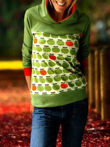 Casual printed long sleeve hooded sweatshirts