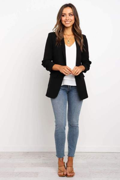 Casual Pure Long Sleeve Lapel  Blazer
