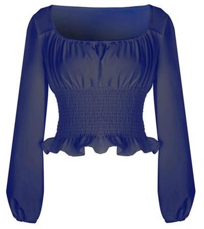 Puff sleeve Drape Square collar T-Shirts
