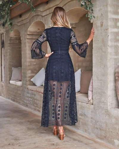 Fashion Sexy Lace V neck Long sleeve Hollow out Irregular Maxi Dresses