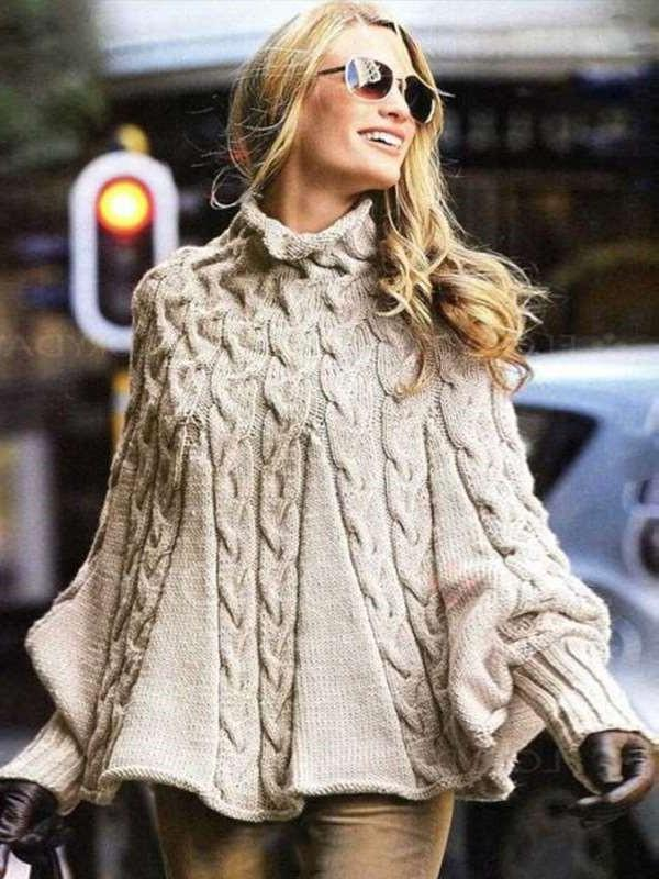 Loose Knit High collar Pure Long sleeve Sweaters