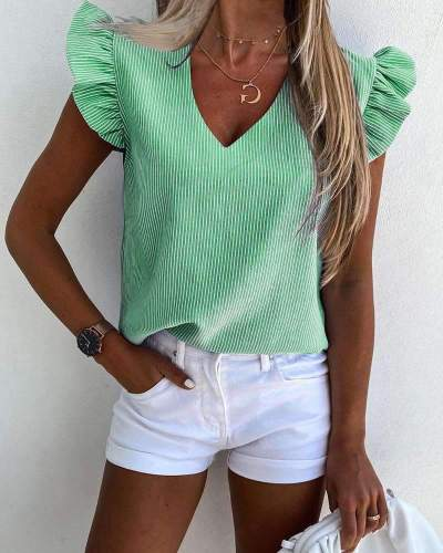 Fashion Stripe V neck Falbala Short sleeve Blouses