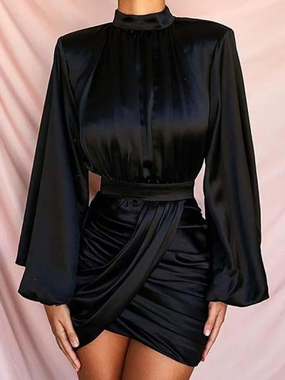 Sexy Solid color lantern sleeve long sleeve bodycon dresses