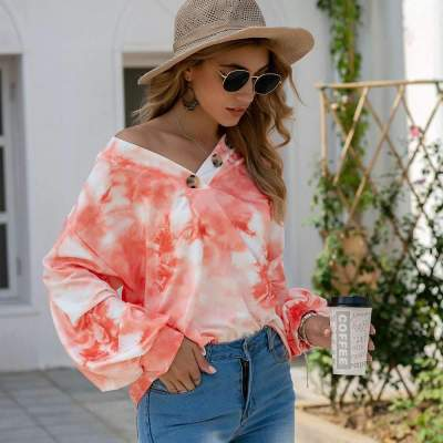 Fashion Casual Tie-dye V neck Long sleeve Sweatshirts