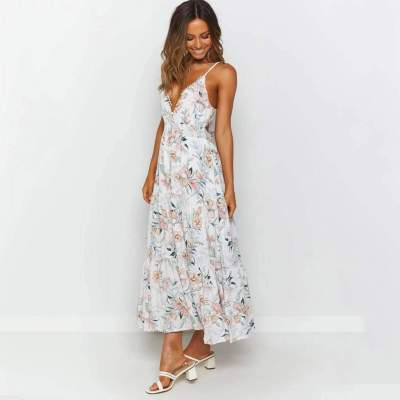Fashion Print V neck Sleeveless Vest Skater Maxi Dresses