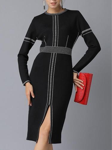 Long Sleeve Woman Black Sexy Knit Bodycon Dress
