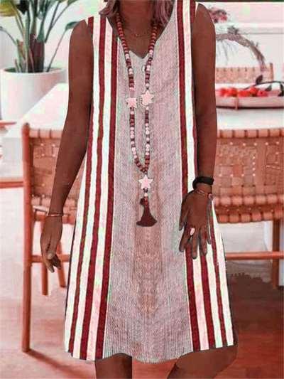 Casual Stripe print V neck Sleeveless Shift Dresses