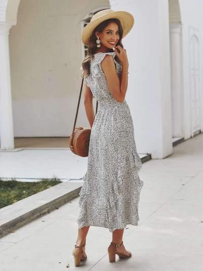 Fashion Round neck Falbala Sleeveless Skater Dresses