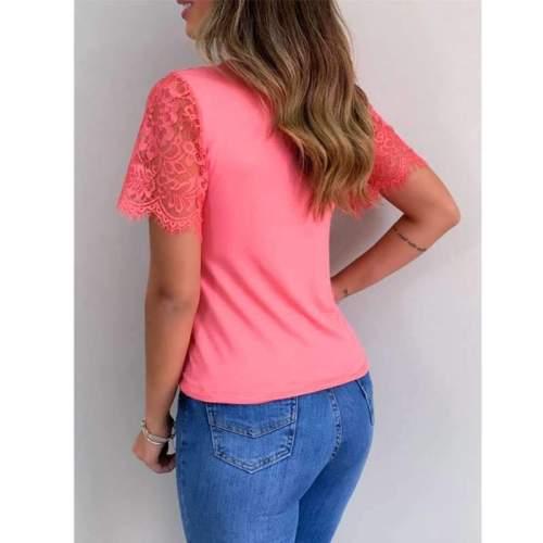 Fashion Pure V neck Lace Short sleeve T-Shirts