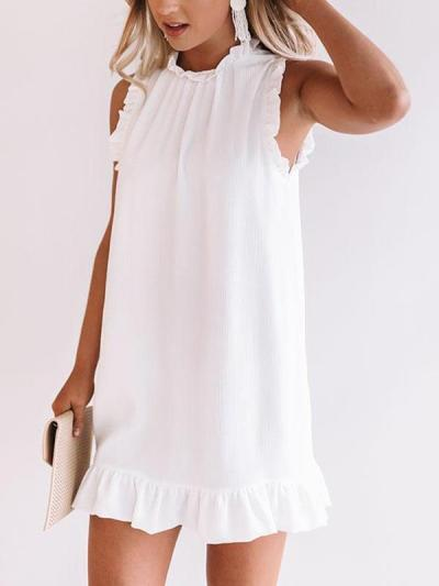 Elegant flounce edge white sleeveless casual shift dresses