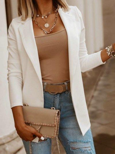 Fashion Casual Pure Lapel Long sleeve Blazer