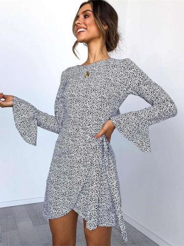 Leopard print Lacing  Falbala Mandarin sleeve Skater Dresses