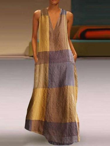 Casual Loose Plaid V neck Sleeveless Maxi Dresses