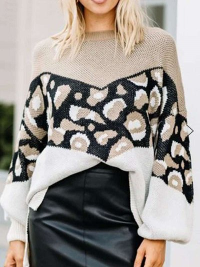 Fashion Casual Print Gored Round neck Long sleeve Sweaters
