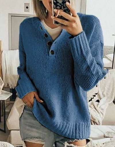 Casual Fashion Long sleeve Pure Fastener Knit Sweaters