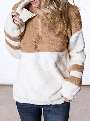 Loose high neck women Velvety zipper long sleeve sweatshirts