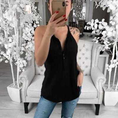 Casual Pure V neck Pocket Vests