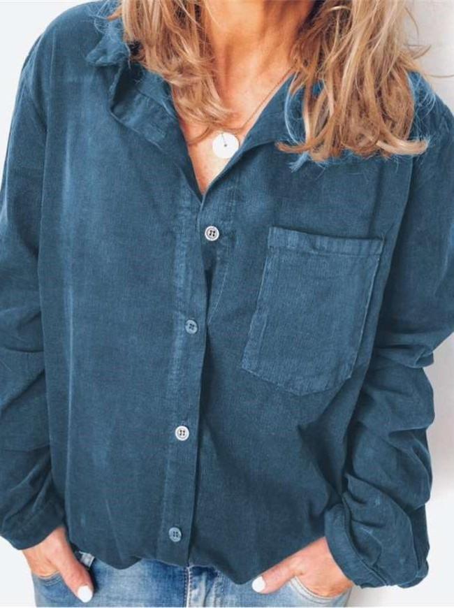 Fashion Loose Lapel  Long sleeve Blouses