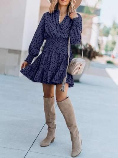Women v neck leopard printed long sleeve skater dresses