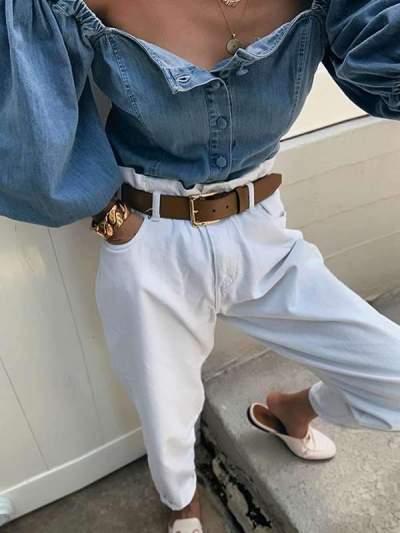 Open-shoulderlantern sleeve denim shirts blouses