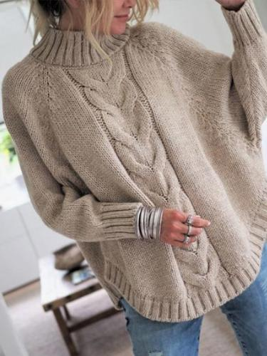 Fashion Little High-Necked Bat Sleeve Sweater