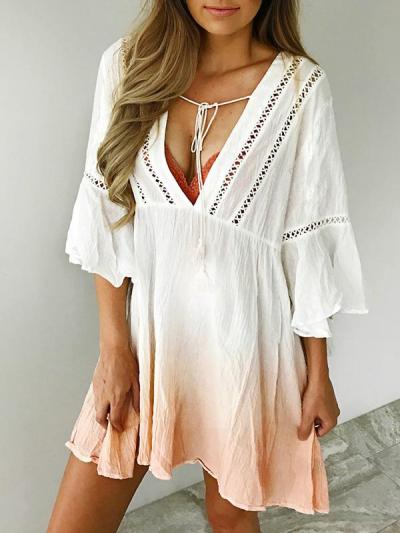 Deep V collar cut-out gradient printed flared sleeve shift mini dresses