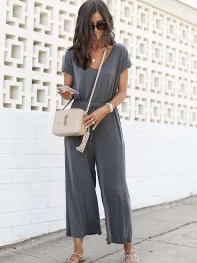 Casual V neck Pure Short sleeve Jumpsuits
