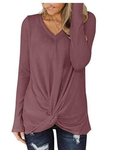 Pure Knit V neck Long sleeve Snarl T-Shirts
