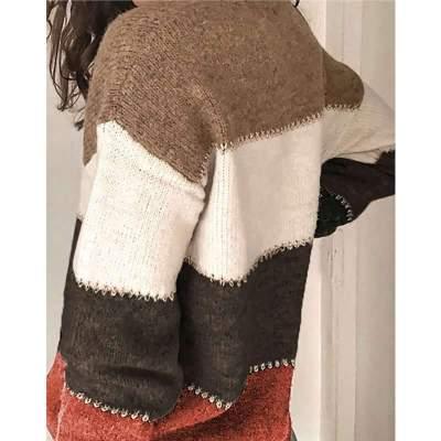 Fashion Casual Stripe V neck Long sleeve Knit Cardigan Sweaters