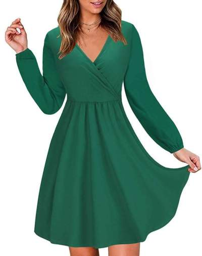 Fashion Tee V neck Long sleeve Skater Dresses