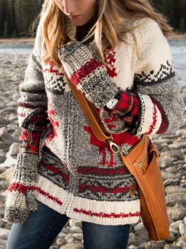 Casual Print Knit Zipper Cardigan