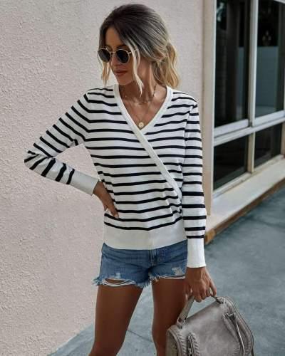 Fashion Print V neck Long sleeve Knit Sweaters