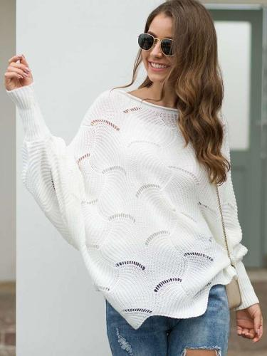 Loose Knit Hollow Batwing sleeve Sweaters
