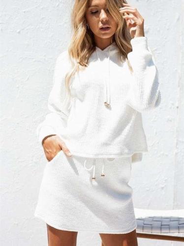 Fashion Pure Hoodies Sweatshirts And Skirt Suits