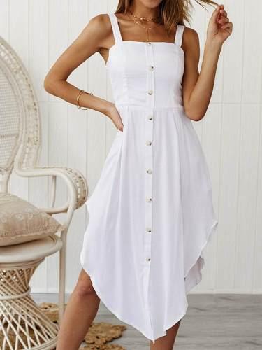 Sleeveless open-shoulder button strap shift dresses
