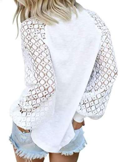 Fashion Casual Pure Puff sleeve Round neck T-Shirts