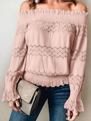 Fashion Lace Off shoulder Long sleeve T-Shirts