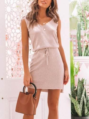 Fashion casual v-neck lace-up irregular bodycon dresses