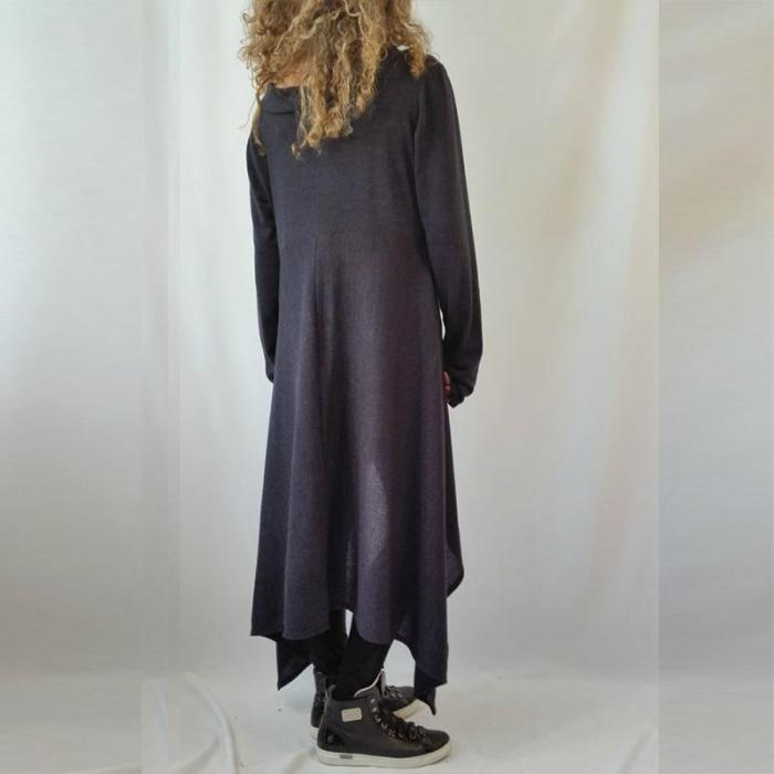 Off Shoulder Long Sleeve Plain Asymmetrical Hem T-Shirts