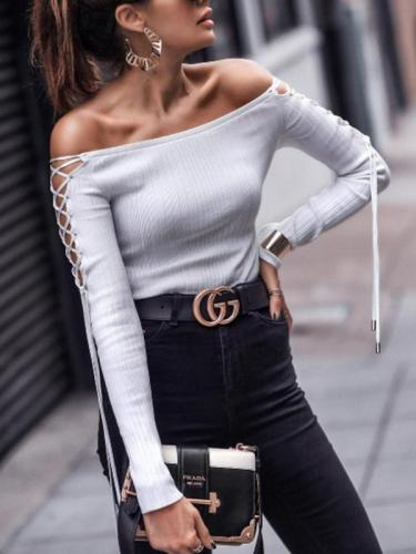 Plain Tie Sleeve Off Shoulder Spring Woman T-shirts