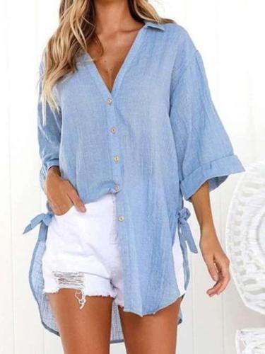 Fashion Long sleeve Lacing V neck Blouses