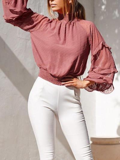 Fashion chiffon high neck women long sleeve sweet blouses