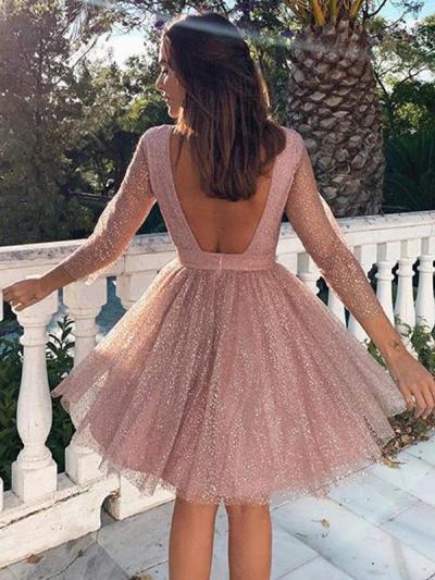 Women fashion sweet long sleeve skater evening dresses