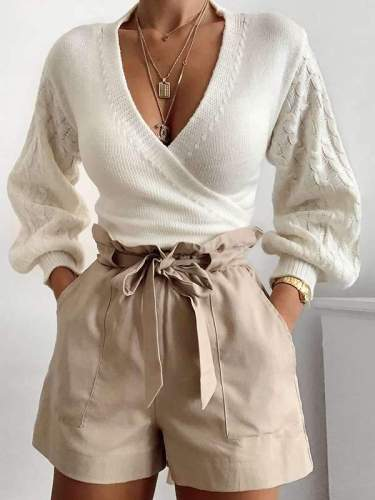 V-neck lantern sleeve sweaters one-piece lace-up cardigans