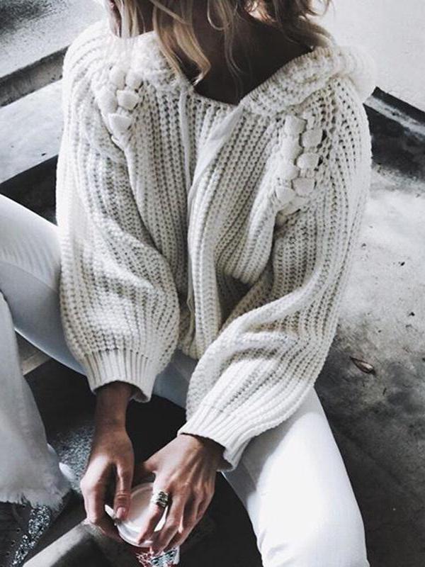 Fashion Hooded Long Sleeve Plain Knitting Sweaters